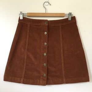 High waisted button up skirt